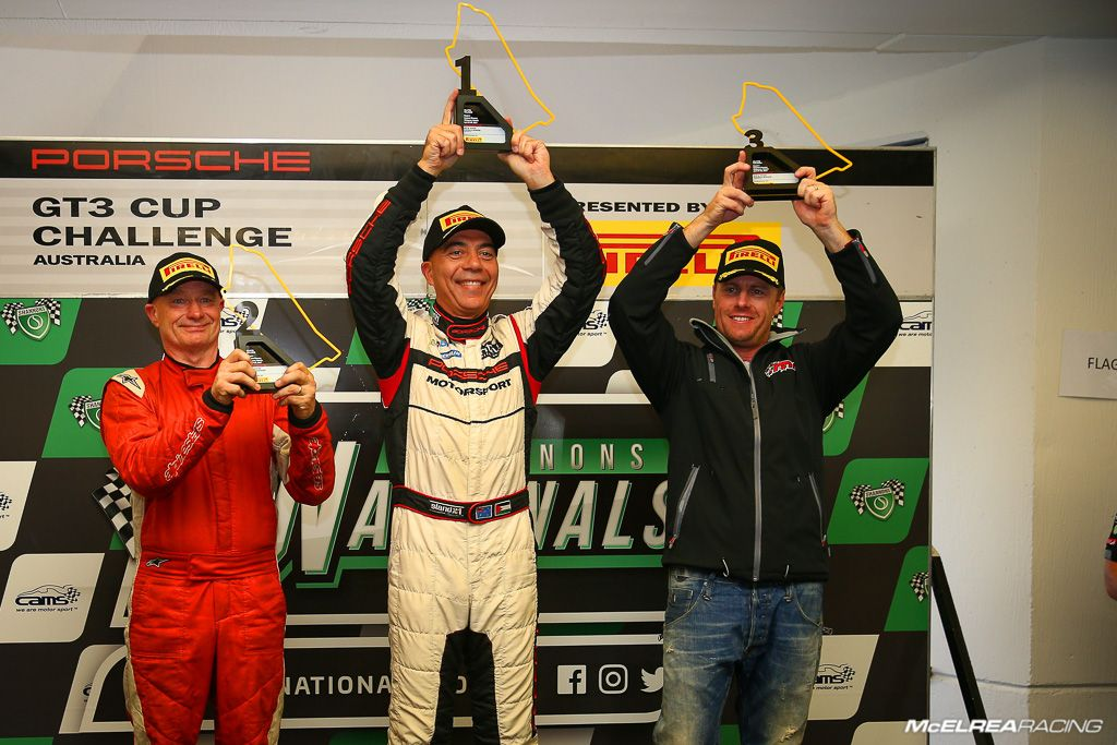 Anthony Gilbertson on the GT3 Cup Challenge podium at Sandown