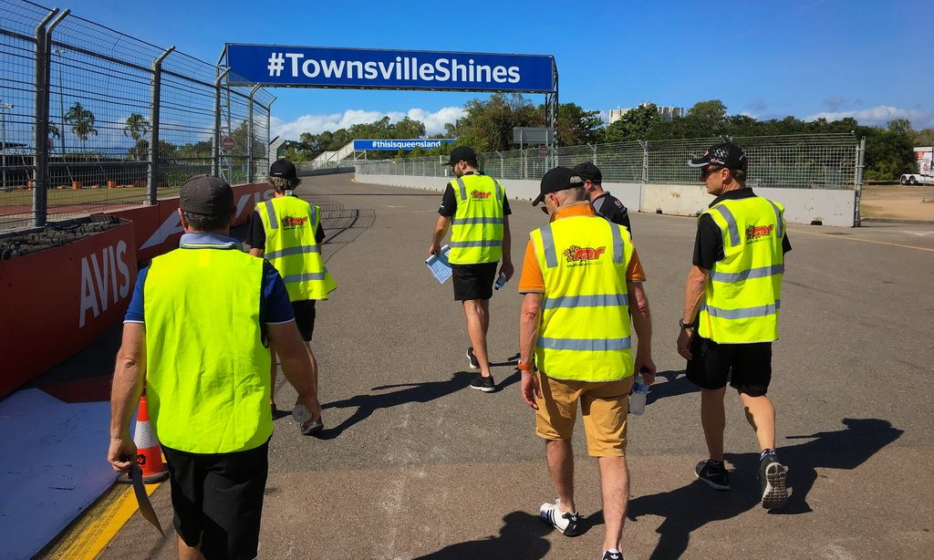 McElrea Racing walk the track at Townsville