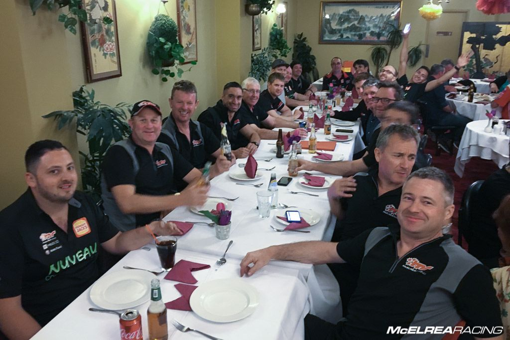 The McElrea Racing Crew having dinner at Bathurst