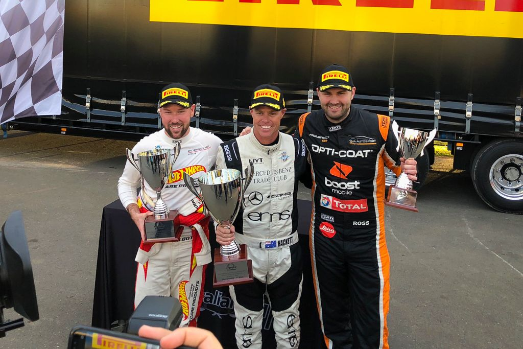 Anthony Gilbertson on the podium at Sydney Motorsport Park for round 5 of the 2018 Porsche Carrera Cup