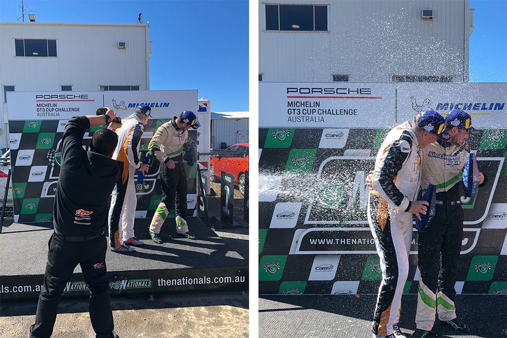 McElrea Racing drivers on the podium at Winton for round 5 of the 2018 Porsche GT3 Cup Challenge