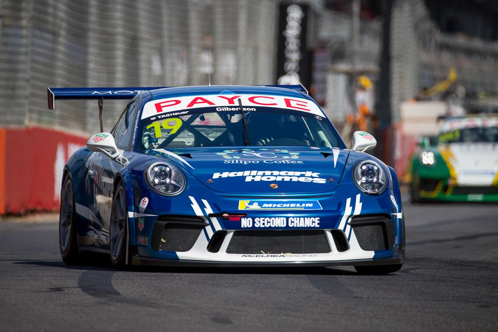 Anthony Gilbertson with McElrea Racing in the Porsche Carrera Cup at the Clipsal 500 in Adelaide