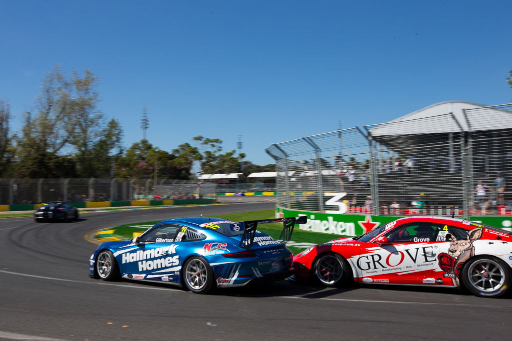 Anthony Gilbertson with McElrea Racing in the Porsche Carrera Cup at the Australian Grand Prix in Melbourne