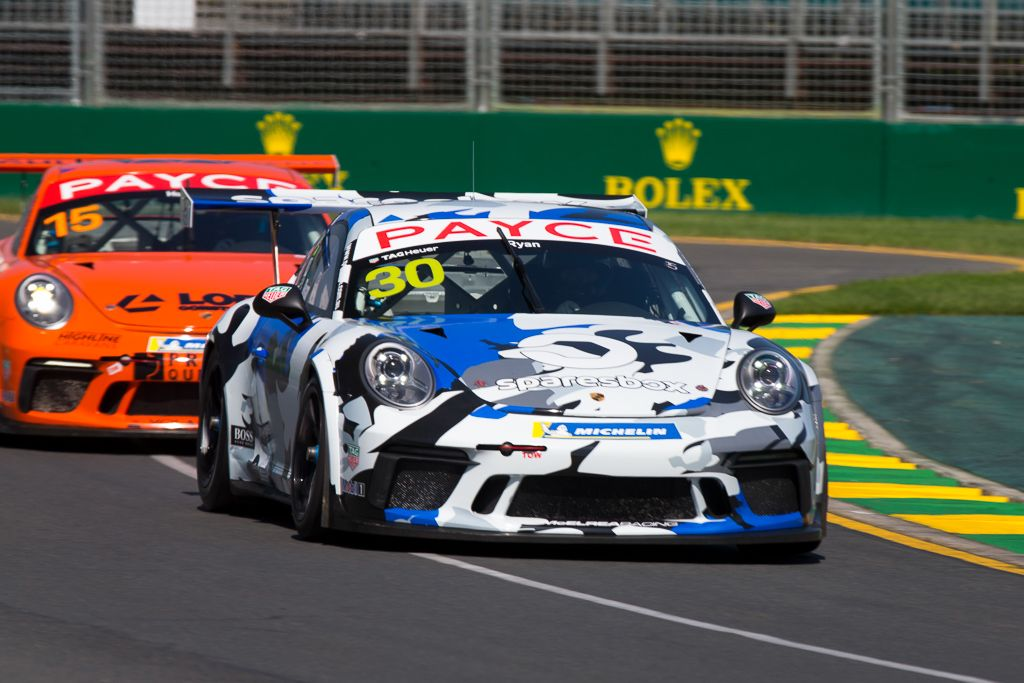 David Ryan with McElrea Racing in the Porsche Carrera Cup at the Australian Grand Prix in Melbourne