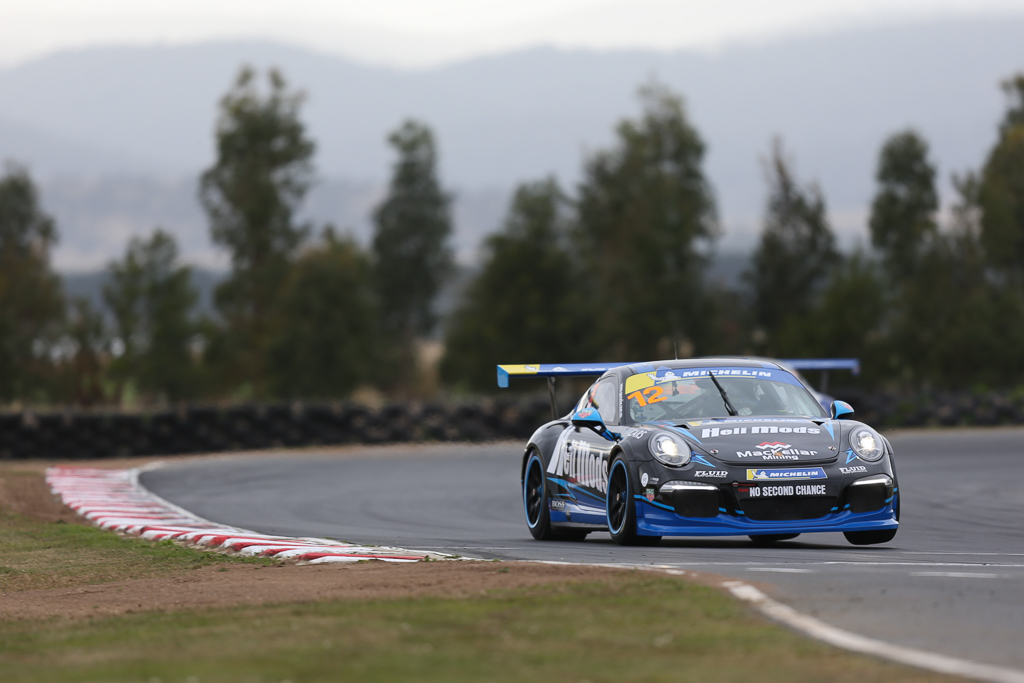 Harri Jones with McElrea Racing in the Porsche GT3 Cup Challenge at Symmons Plains in Tasmania