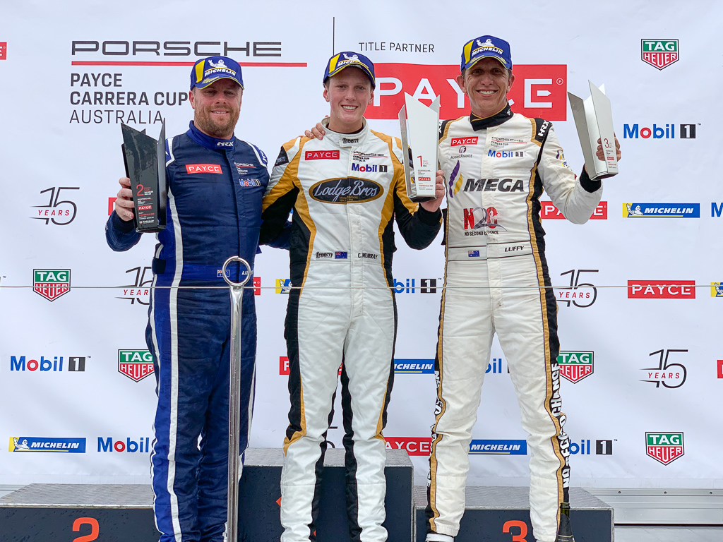 McElrea Racing drivers on the podium at the Townsville street circuit