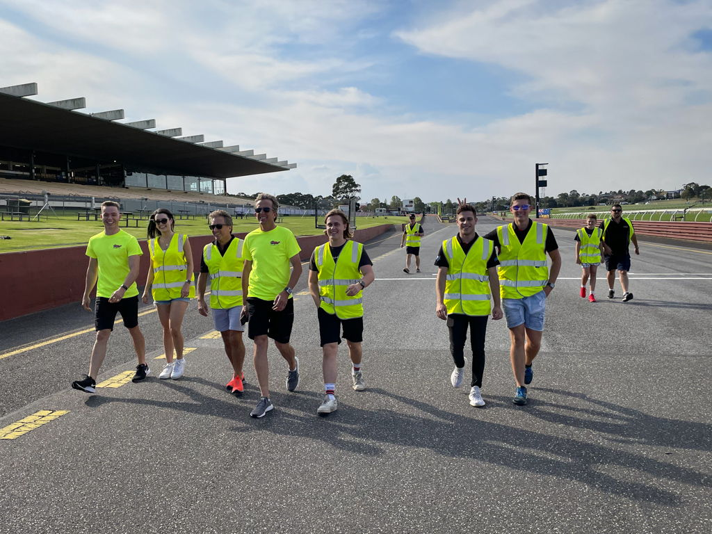 McElrea Racing drivers walk the track for the Porsche Carrera Cup at Sandown 2021
